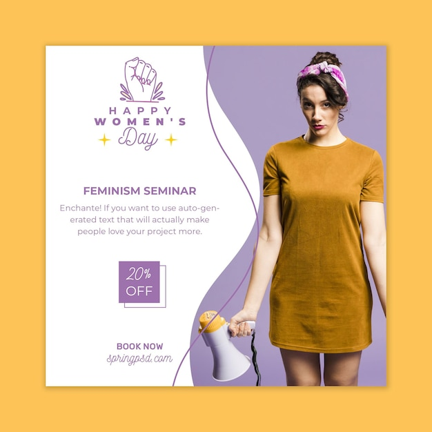 Modèle De Flyer Carré De La Journée Internationale De La Femme Vecteur gratuit