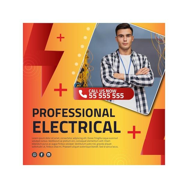 Modèle De Flyer Carré Publicitaire électricien Vecteur Premium