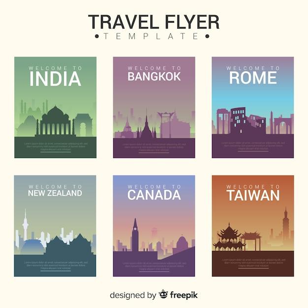 Modèle de flyer de cartes postales de ville Vecteur gratuit