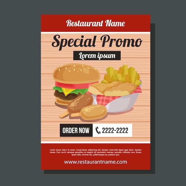 Modèle de flyer de chips de promo spécial malbouffe Vecteur Premium