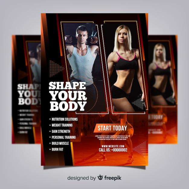 Modèle de flyer de club de gym avec photo Vecteur gratuit