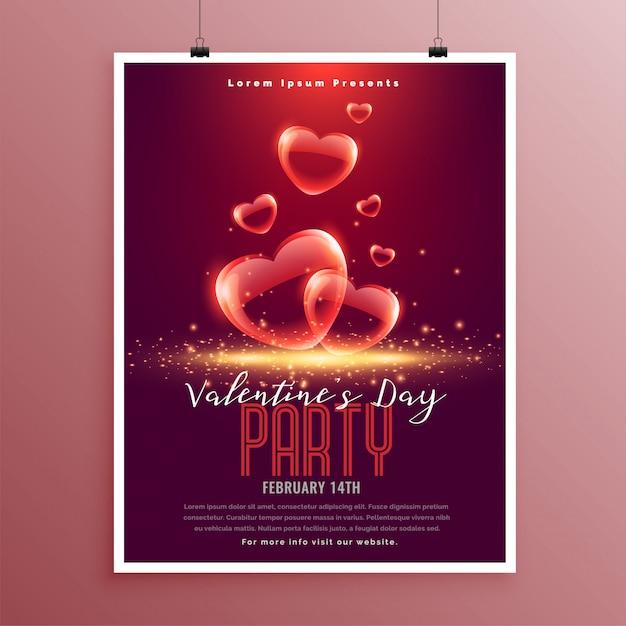 Modèle de flyer coeurs belle bulle saint valentin Vecteur gratuit