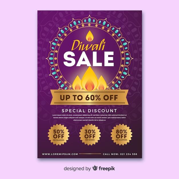 Modèle de flyer coloré vente diwali avec design plat Vecteur gratuit
