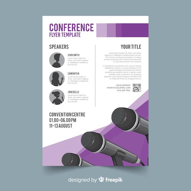 Modèle de flyer conférence plat abstrait Vecteur gratuit