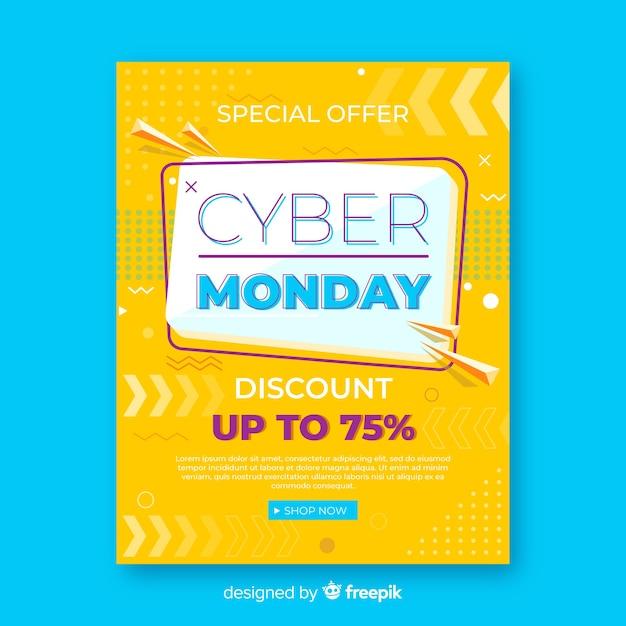 Modèle de flyer cyber lundi avec design plat Vecteur gratuit