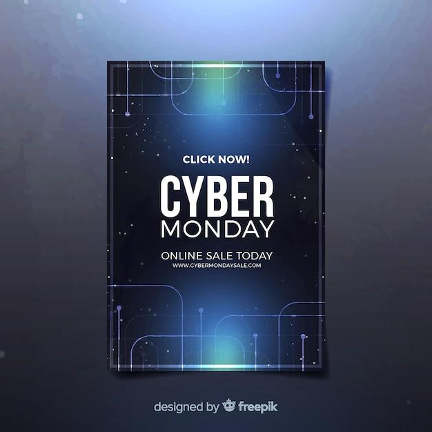 Modèle de flyer cyber lundi avec un design réaliste Vecteur gratuit