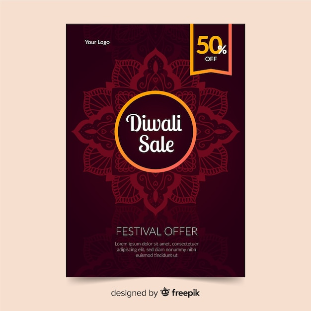 Modèle de flyer design diwali design plat Vecteur gratuit