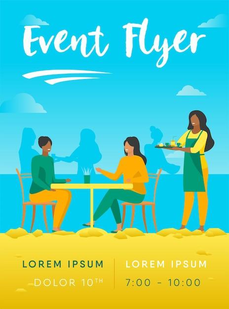 Modèle De Flyer De Deux Femmes Assises Dans Un Café Vecteur gratuit