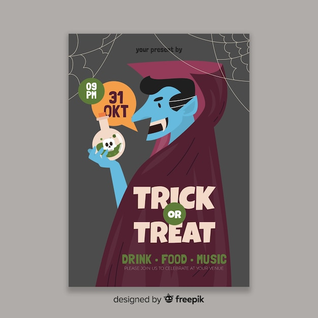 Modèle de flyer dracula plat halloween party Vecteur gratuit