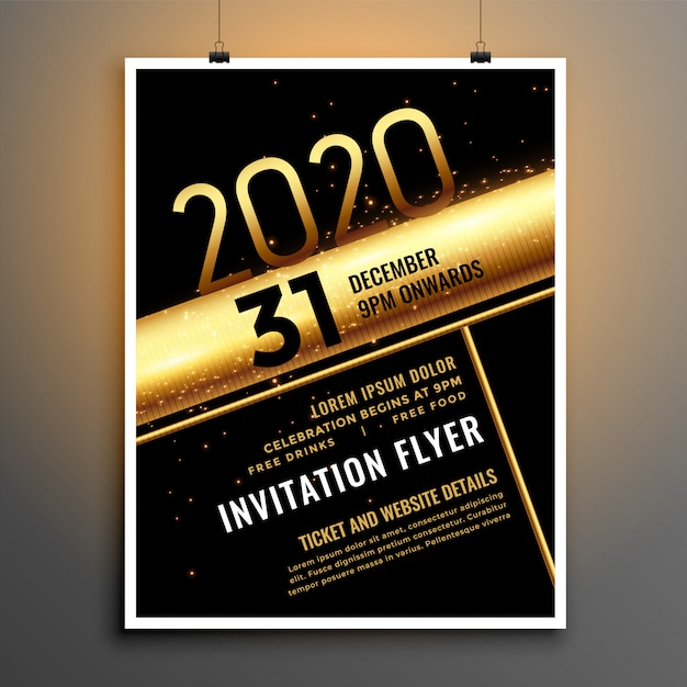 Modèle de flyer du nouvel an 2020 noir et or Vecteur gratuit