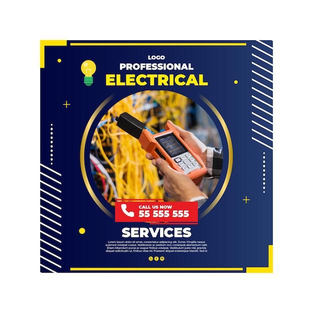 Modèle De Flyer électricien Vecteur Premium