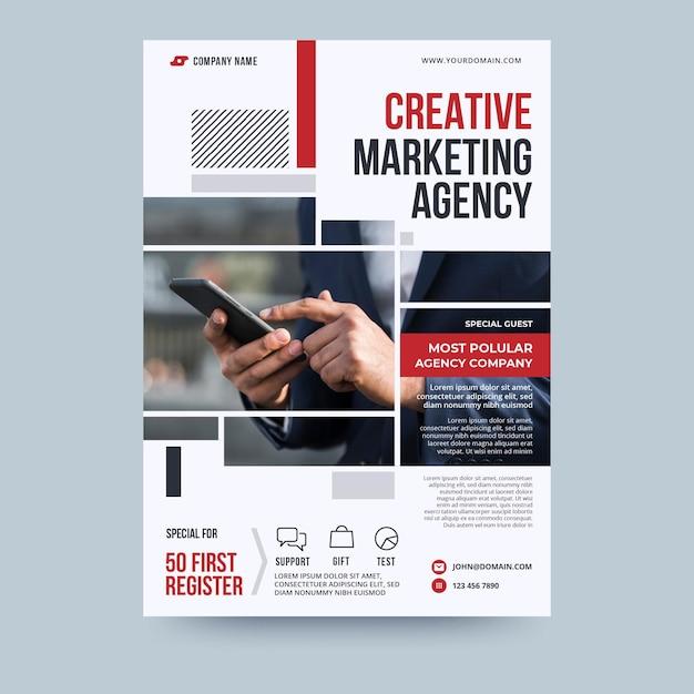 Modèle De Flyer D'entreprise D'agence De Marketing Créatif Vecteur Premium