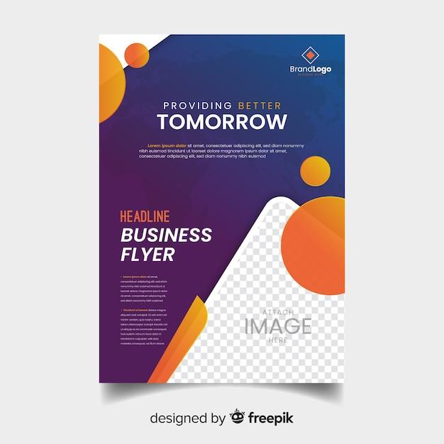 Modèle de flyer d'entreprise moderne avec dessin abstrait Vecteur gratuit