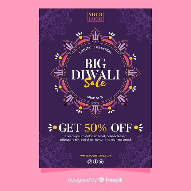 Modèle de flyer de l'événement de vente de diwali Vecteur gratuit