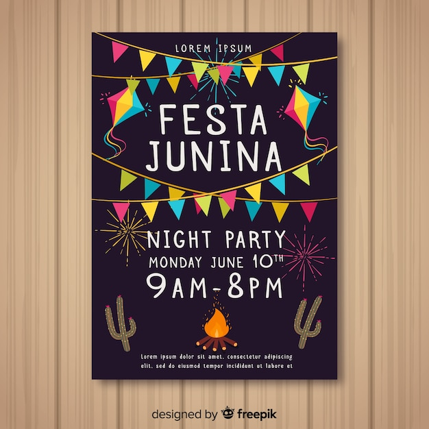 Modèle de flyer festa junina dessiné à la main Vecteur gratuit