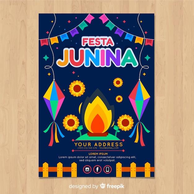 Modèle de flyer festa junina Vecteur gratuit