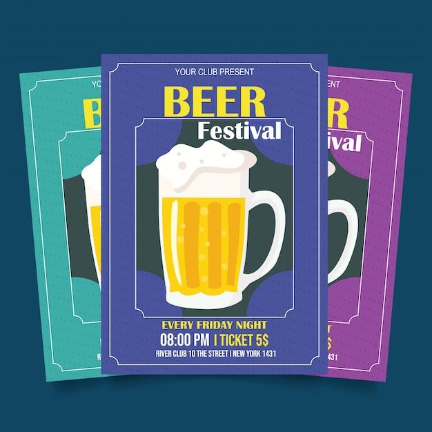 Modèle de flyer festival de la bière Vecteur Premium