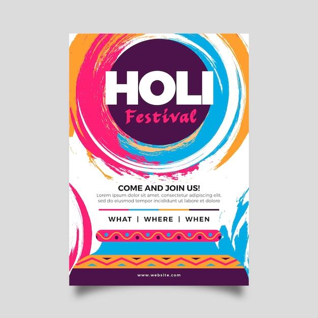 Modèle De Flyer Festival Holi Au Design Plat Vecteur gratuit