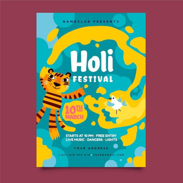 Modèle De Flyer Festival Holi Dessiné à La Main Vecteur gratuit