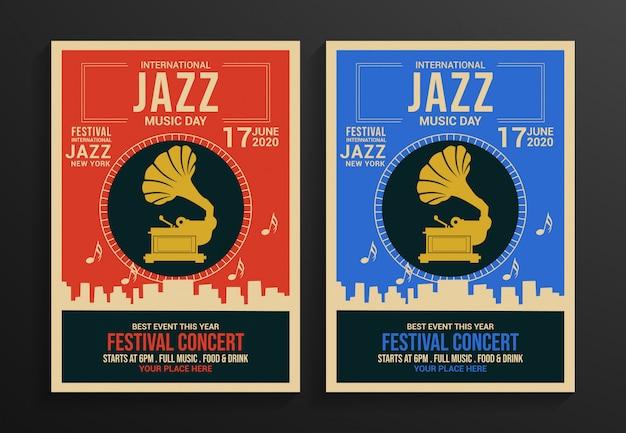 Modèle de flyer festival de jazz Vecteur Premium