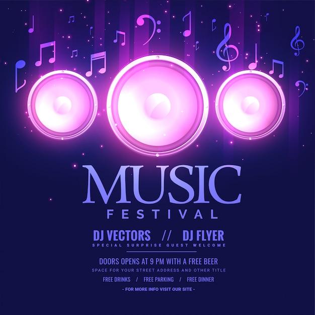 Modèle de flyer de festival de musique avec haut-parleur et effet de lumière Vecteur gratuit