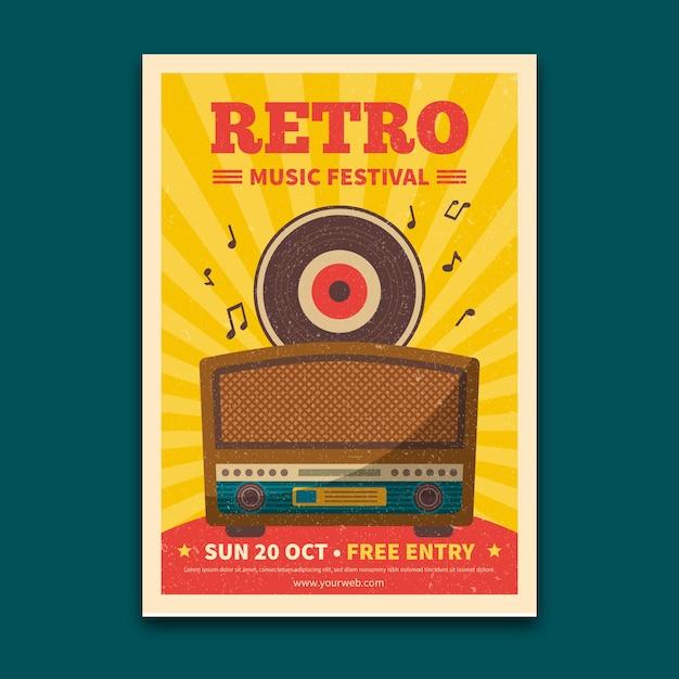 Modèle De Flyer Festival De Musique Rétro Vecteur gratuit