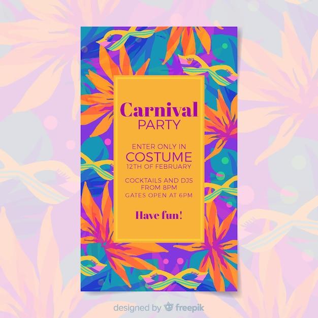 Modèle de flyer fête carnaval Vecteur gratuit