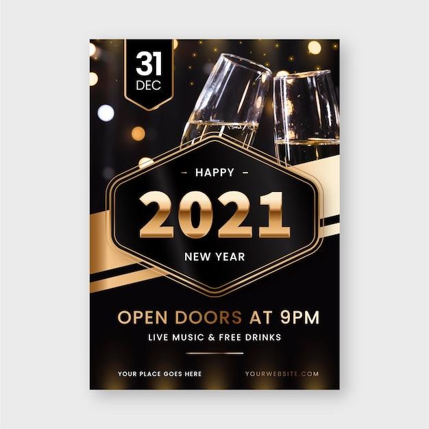 Modèle De Flyer De Fête Du Nouvel An 2021 Vecteur gratuit