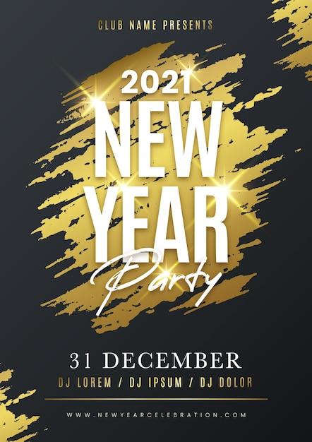 Modèle De Flyer De Fête Du Nouvel An Doré 2021 Vecteur gratuit
