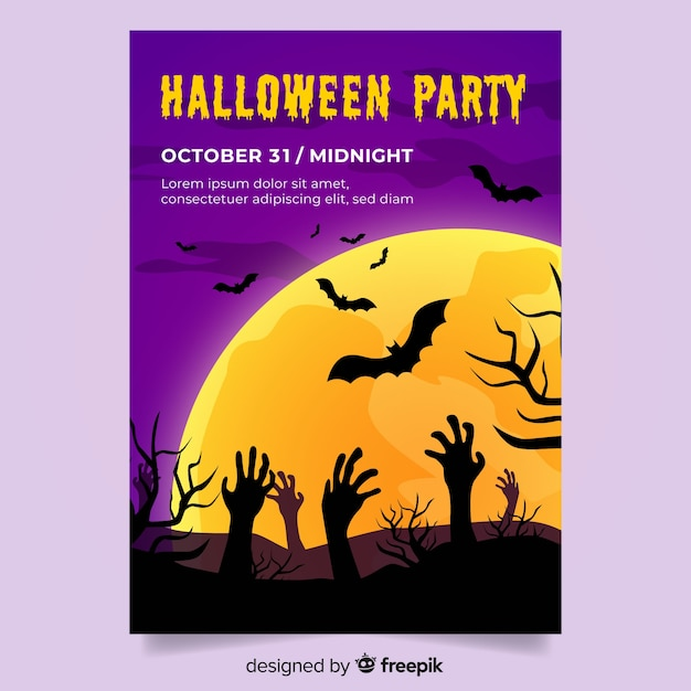 Modèle avec flyer fête halloween design plat Vecteur gratuit