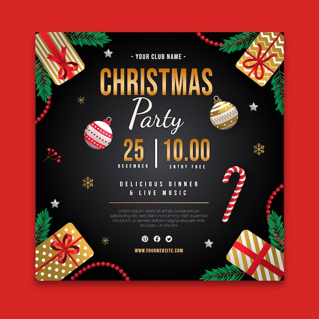 Modèle De Flyer De Fête De Noël Carré Avec Canne En Bonbon Vecteur Premium