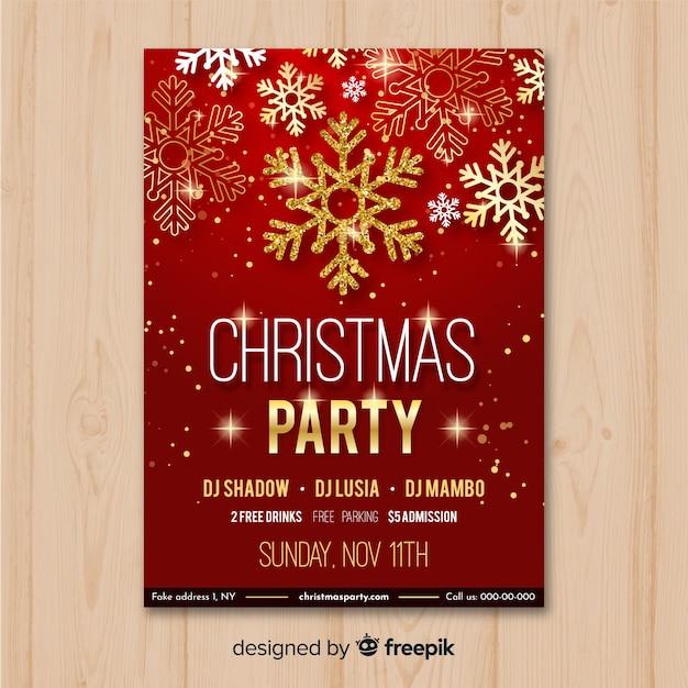 Modèle De Flyer Fête De Noël En Rouge Et Or Vecteur gratuit