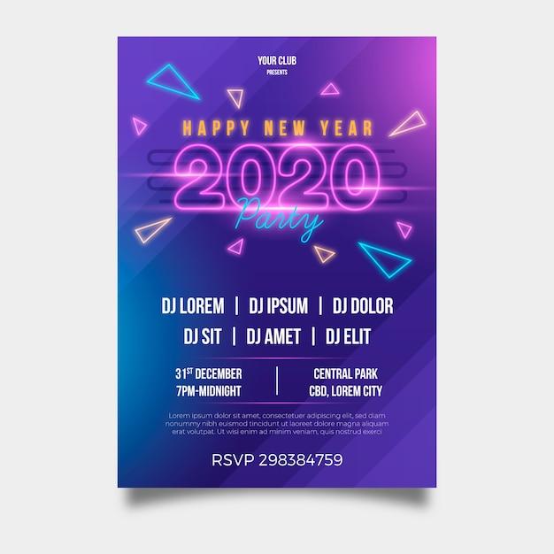 Modèle de flyer fête nouvel an 2020 au design plat Vecteur gratuit