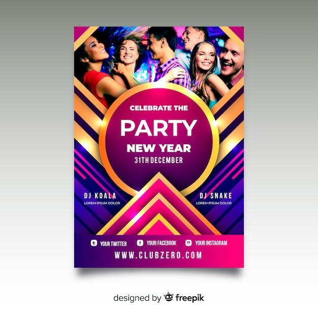 Modèle de flyer fête nouvel an 2020 avec photo Vecteur gratuit
