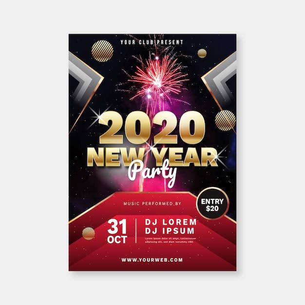 Modèle De Flyer De Fête De Nouvel An Avec Image Vecteur gratuit