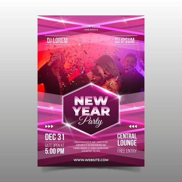 Modèle de flyer fête nouvel an avec image Vecteur gratuit