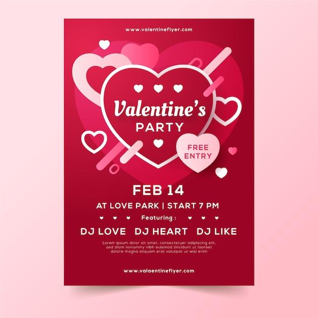 Modèle de flyer de fête de la saint valentin Vecteur gratuit