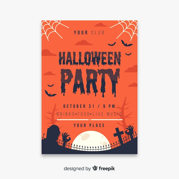 Modèle de flyer fête toile d'araignée et cimetière halloween Vecteur gratuit