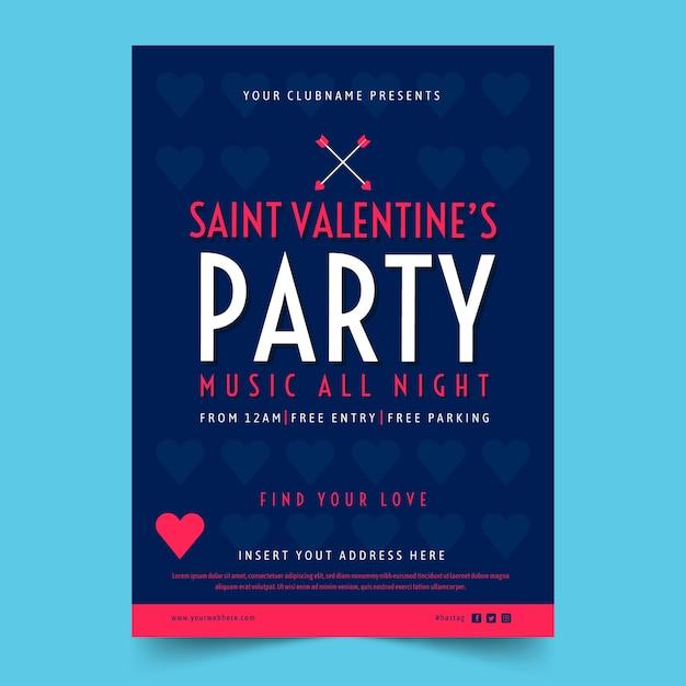 Modèle de flyer fête valentin au design plat Vecteur gratuit