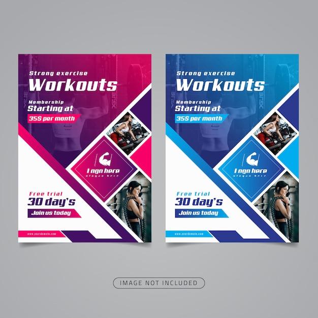 Modèle De Flyer Fitness Gym. Vecteur Premium