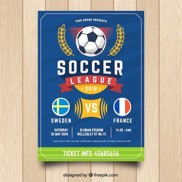 Modèle de flyer de football bleu Vecteur gratuit