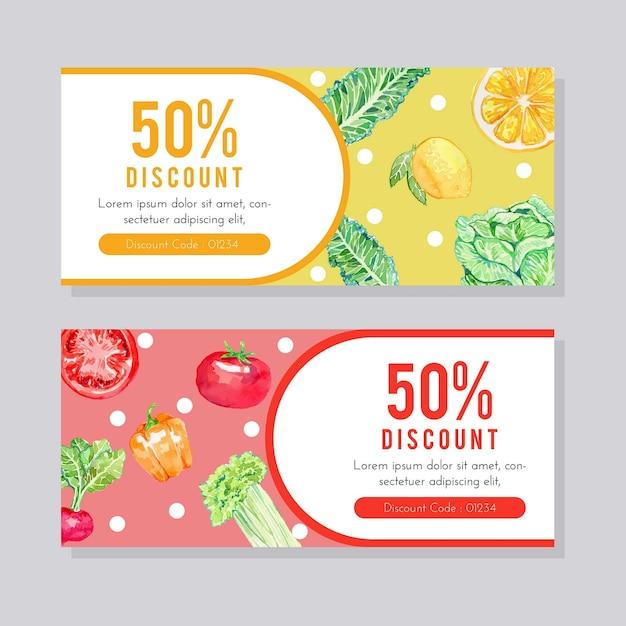 Modèle De Flyer De Fruits Et Légumes Aquarelle Vecteur Premium