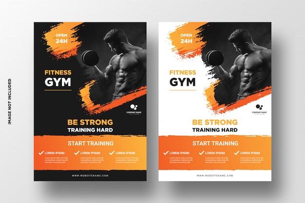 Modèle De Flyer De Gym / Fitness Avec Des Formes Grunge Vecteur Premium