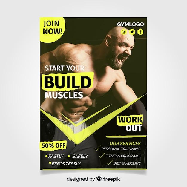 Modèle de flyer de gym avec photo Vecteur gratuit