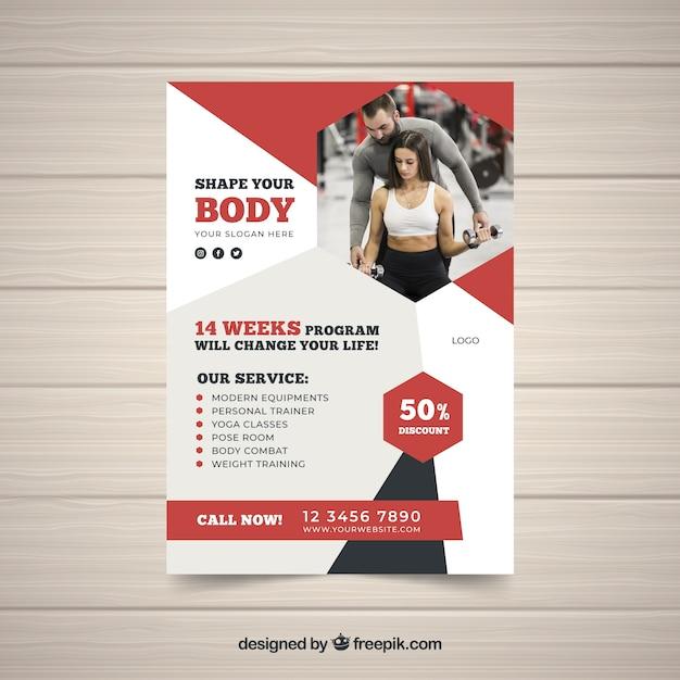 Modèle De Flyer De Gym Rouge Avec Image Vecteur gratuit