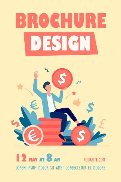 Modèle De Flyer D'homme D'affaires Heureux Gagnant De L'argent Vecteur gratuit