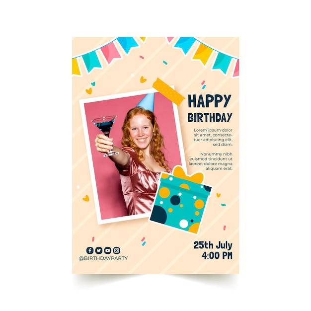 Modèle De Flyer D'invitation D'anniversaire Vecteur Premium