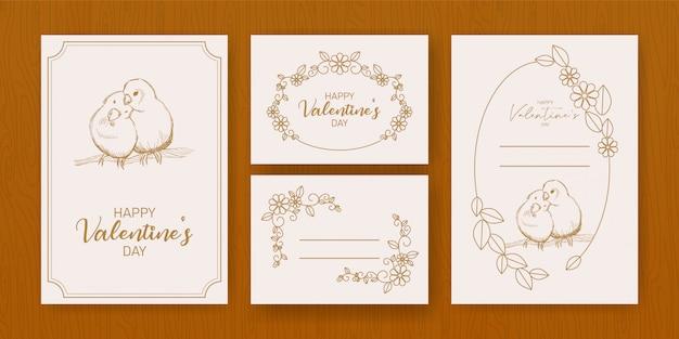 Modèle de flyer joyeux saint valentin avec lettrage dessiné à la main Vecteur Premium