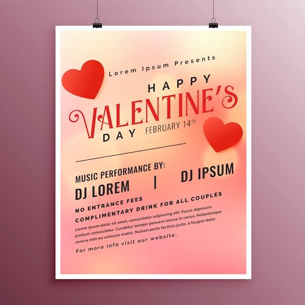 Modèle de flyer joyeux saint valentin party party Vecteur gratuit