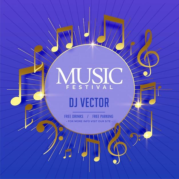 Modèle de flyer musical avec des notes sonores dorées Vecteur gratuit